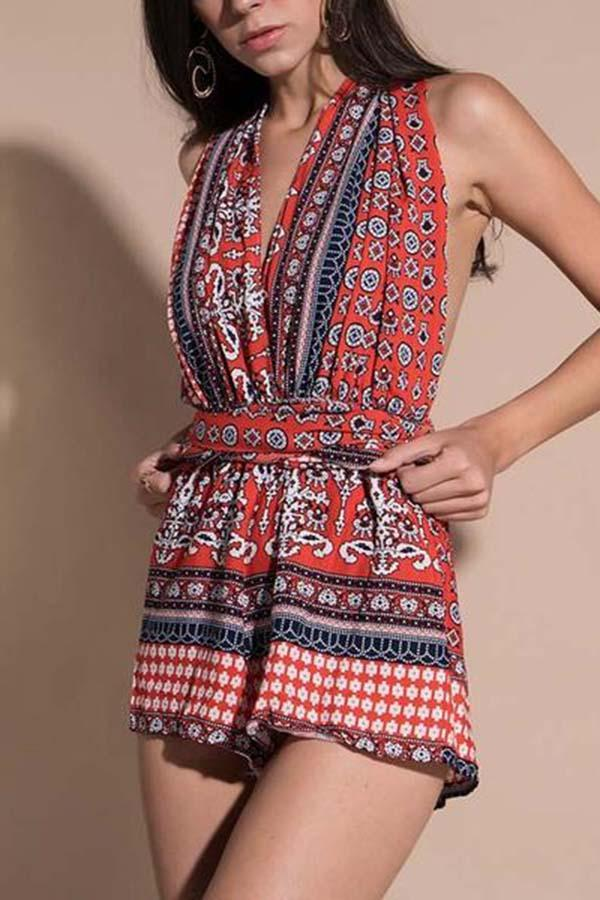 Vintage Casual Round Neck Printed Jumpsuits
