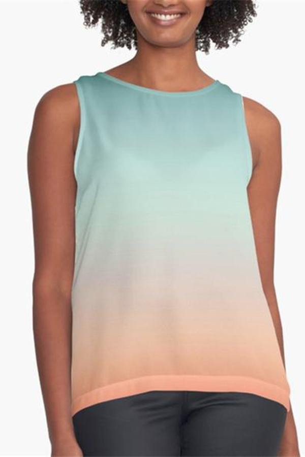Women's Casual Loose Round Neck Sleeveless Gradient T-Shirts