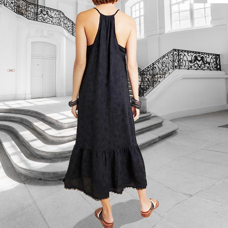 Fashion Casual Sexy Pure Colour Sling Maxi Dress