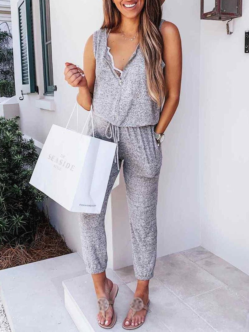 Sexy V Neck Sleeveless Pure Color Jumpsuit
