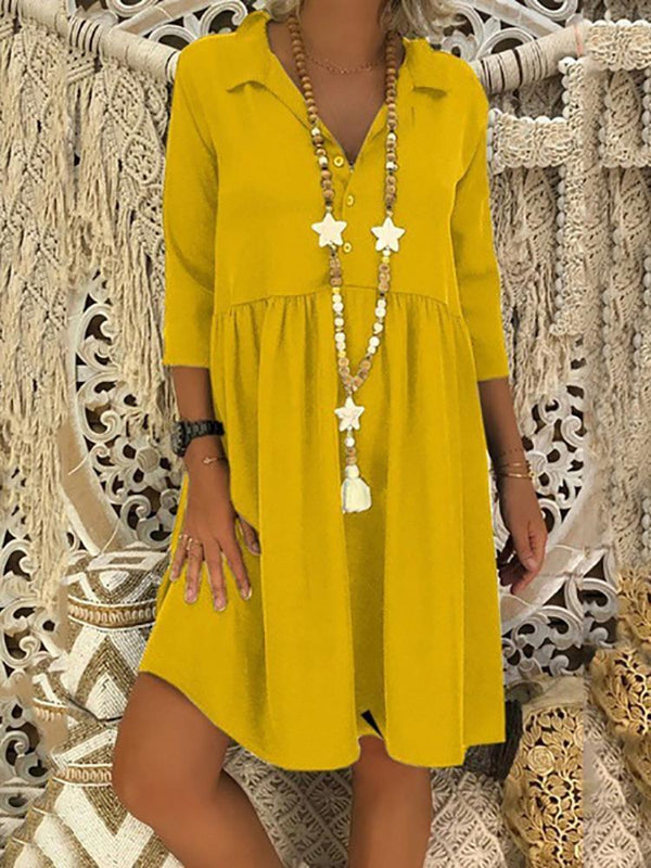 Casual V Neck Bracelet Sleeve Splicing Loose Dress