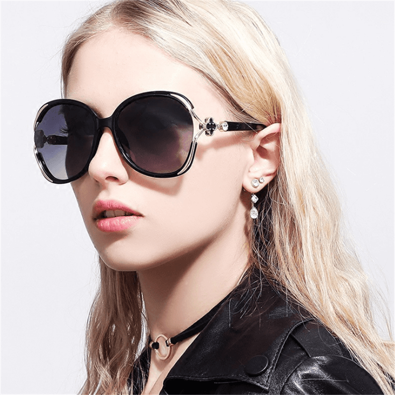 Fashion four-leaf clover big box round sunglasses