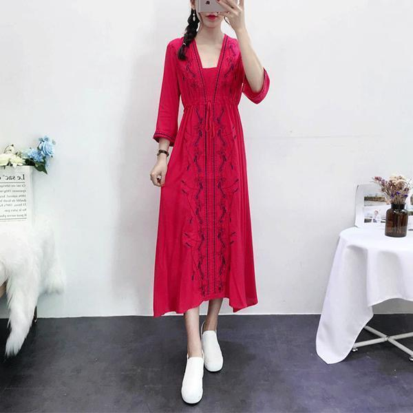 Ethnic Style V Collar Three-Quarter Sleeves Embroidery Vacation Dress