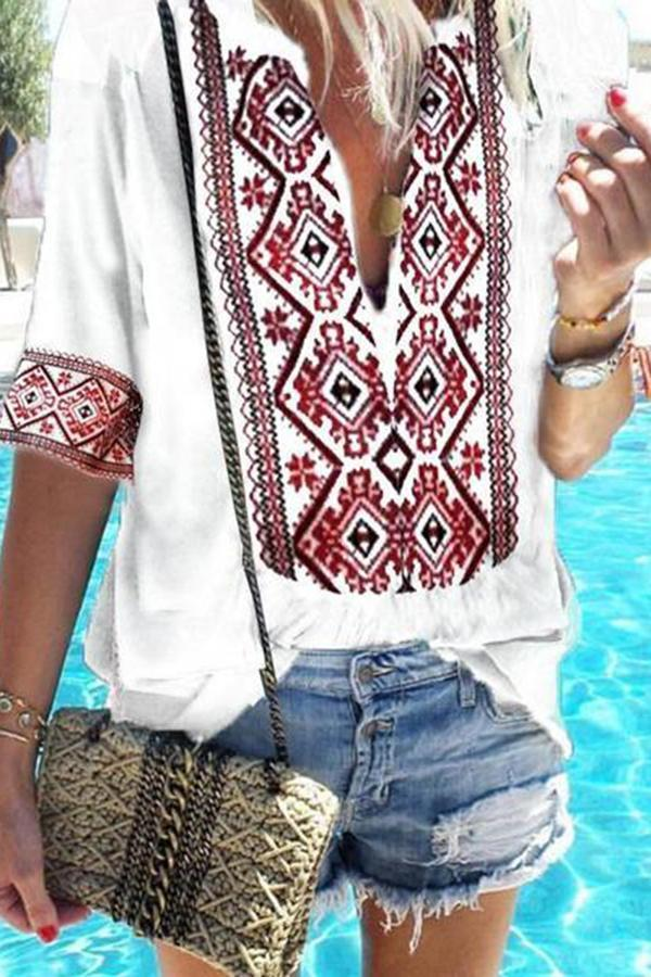 Ethnic Style Print V-Neck Casual T-Shirt