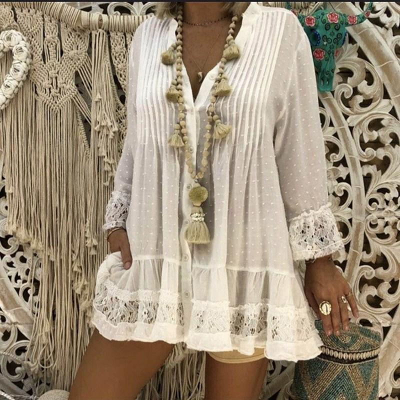 Fashion Lace Splicing Long Sleeve Loose V Neck Shirt