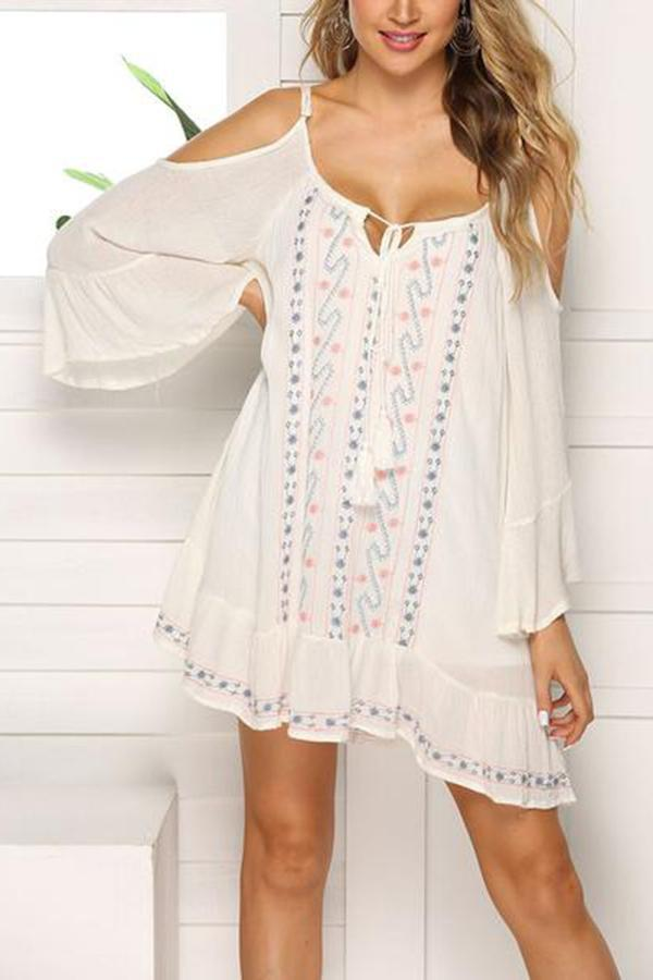 Elegant Round Neck Off-Shoulder Belted Dress