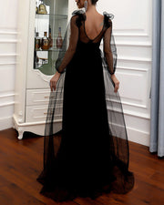Sexy Mesh Perspective Maxi Evening Dress