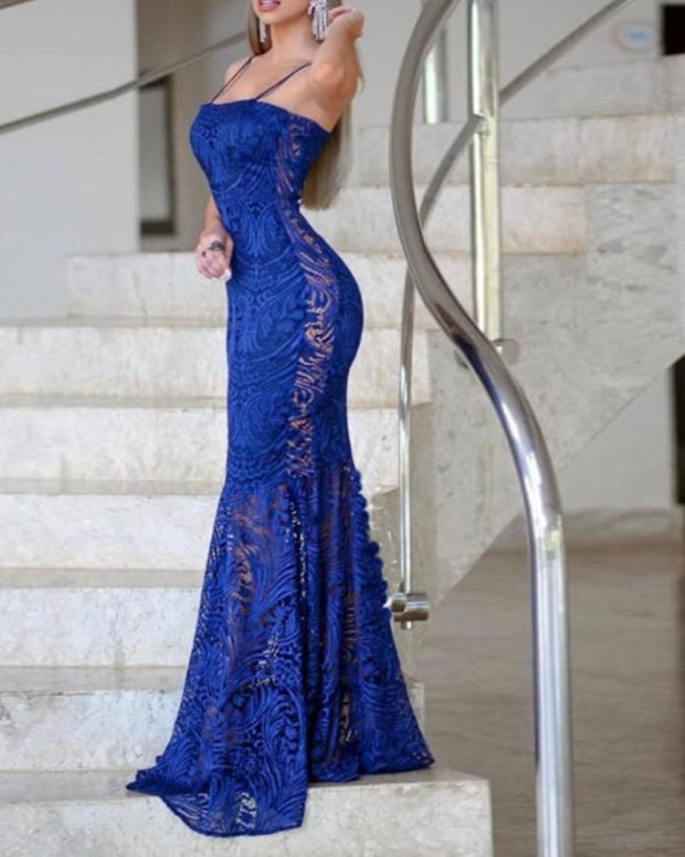 Sexy Lace Sling Banquet Evening Dress