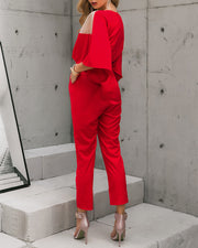 Fashion Slim Perspective V-neck Jumpsuit