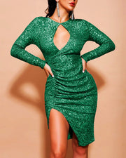 Sexy Sequined Irregular Nightclub Evening Dress