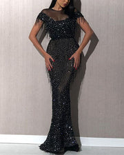 Sequined Tassel Perspective Mesh Bodycon Evening Dress