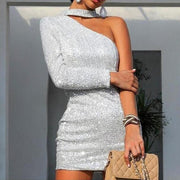 Fashion Strapless Silver Silk Wrap Hip Dress