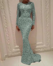 Long Sleeve Sequin Sexy Evening Dress