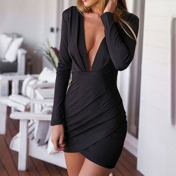 Solid Color Long Sleeve Sexy Tight-Fitting Deep V-Neck Irregular Dress