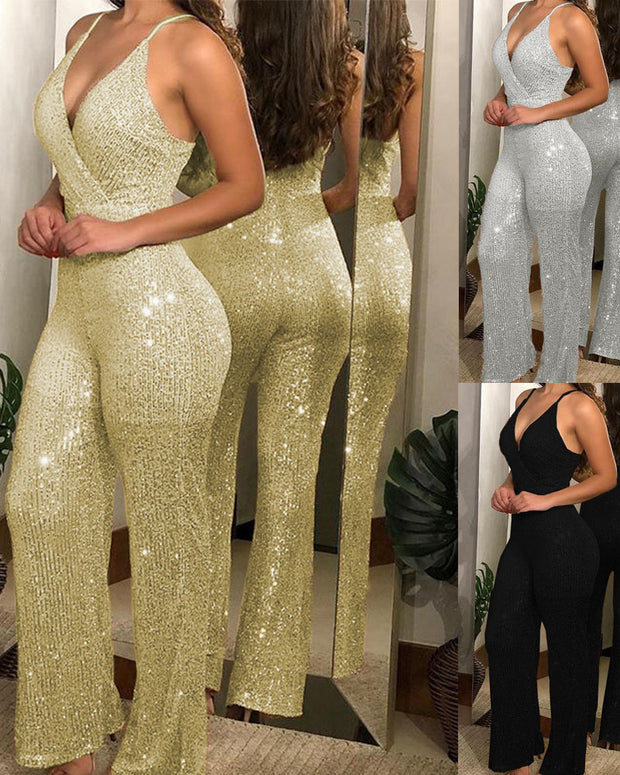 Sling V-Neck Slim Nightclub Jumpsuit