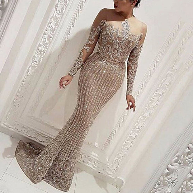 Sexy Perspective Shiny Decorative Pattern Tight-Fitting Buttocks Fishtail Evening Dress
