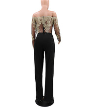 Embroidered Mesh Long Sleeves Tie Party Jumpsuit