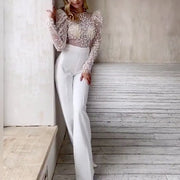 Sexy Perspective Lace Stitching Solid Color Wide-Leg Jumpsuit