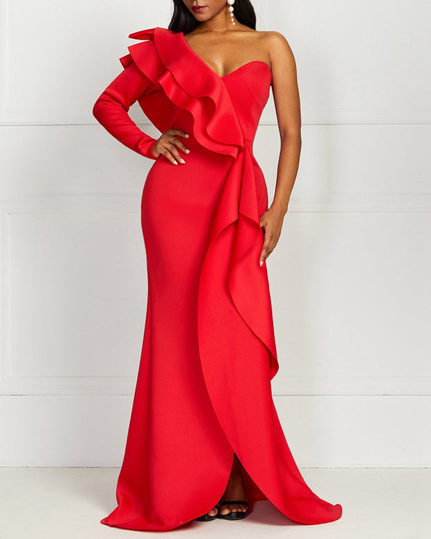 Ruffled Solid Color Wrapped Evening Dress