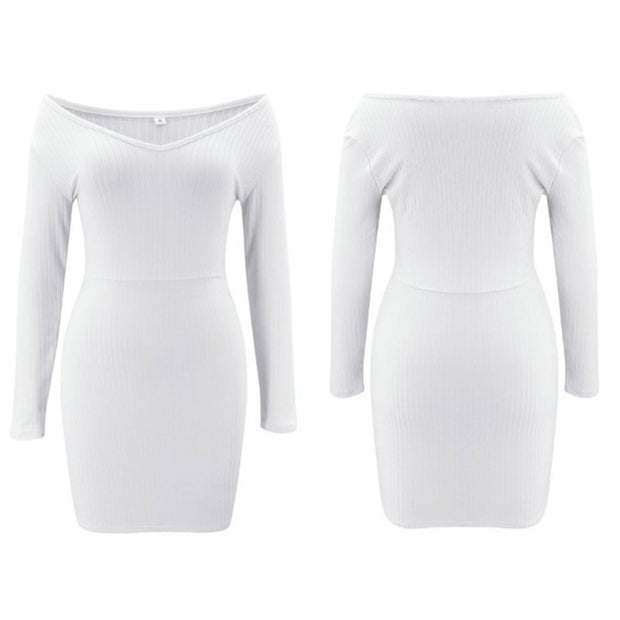 Casual Sexy Temperament V-Neck Solid Color Slim Long-Sleeved Dress