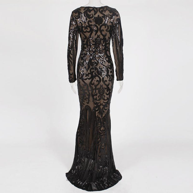 Fashion Long Sleeve Sequined Long Dress