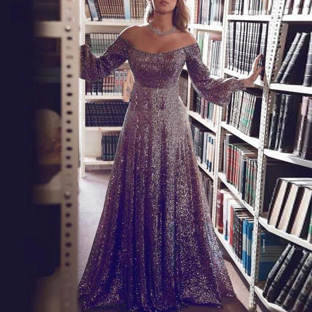 Fashion Off-The-Shoulder Long Sleeve Evening Dress