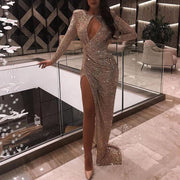 Sexy Pleated High Slit Long Sleeve Dress