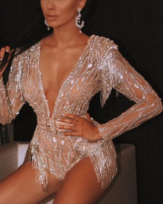 Sexy Tassel Sequined V-neck Jumpsuit With Belt