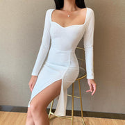 Sexy Square Neck Fashion High Slit Dress