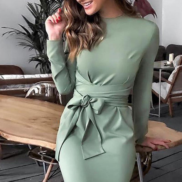 Elegant Fashion Solid Color Tight Evening Dress
