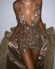 Strap Sequined Sleeveless Backless V-Neck A-Line Dress