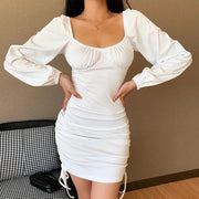 Fashionable Simple Solid Color Breast Sexy Drawstring Lantern Sleeve Dress