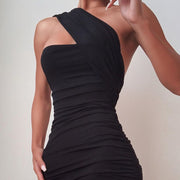 Sexy One-shoulder Smocked Sleeveless Bodycon Dress