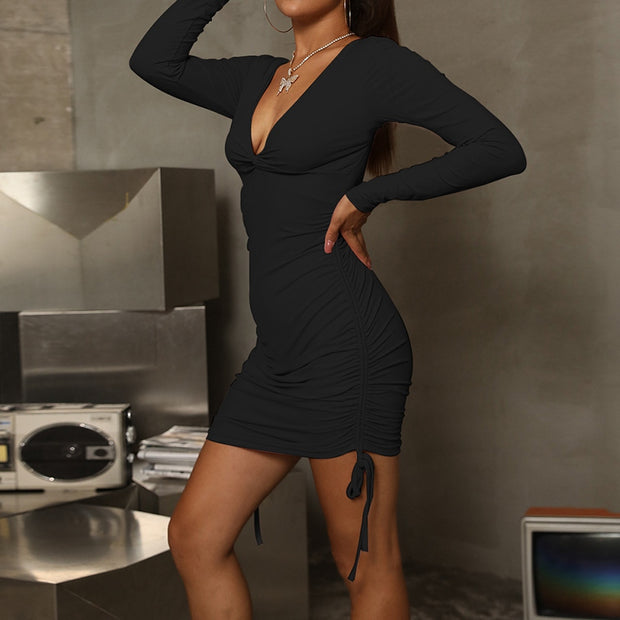 Fashion Sexy V-Neck Long-Sleeved Slim Solid Color Hip Dress