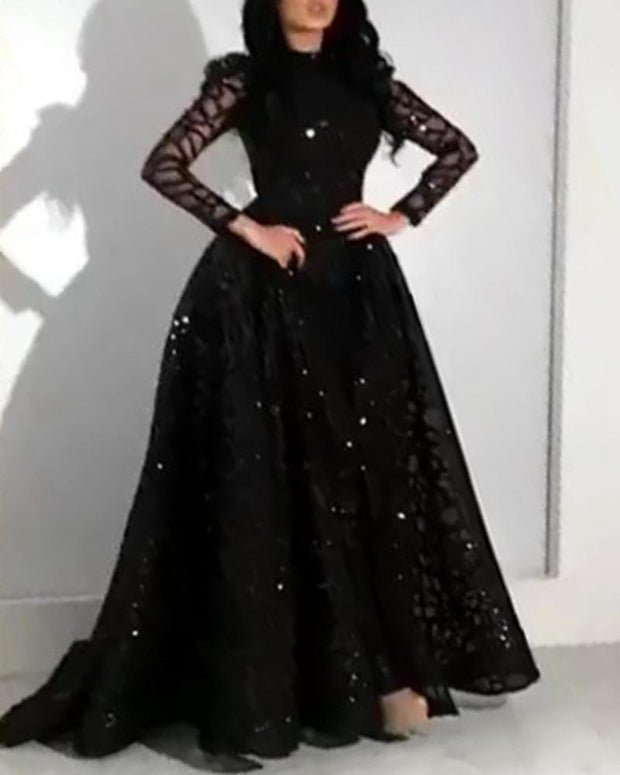 Long Sleeve Sequined Elegant Evening Dress