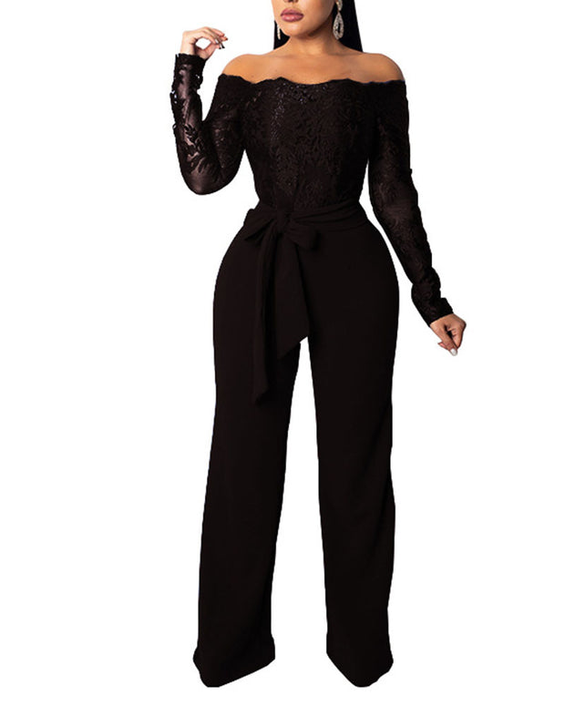 Off-The-Shoulder Pure Color Tie Jumpsuit