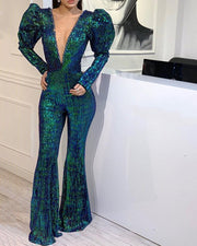 Sequined Deep V Backless Party Jumpsuit Without Belts