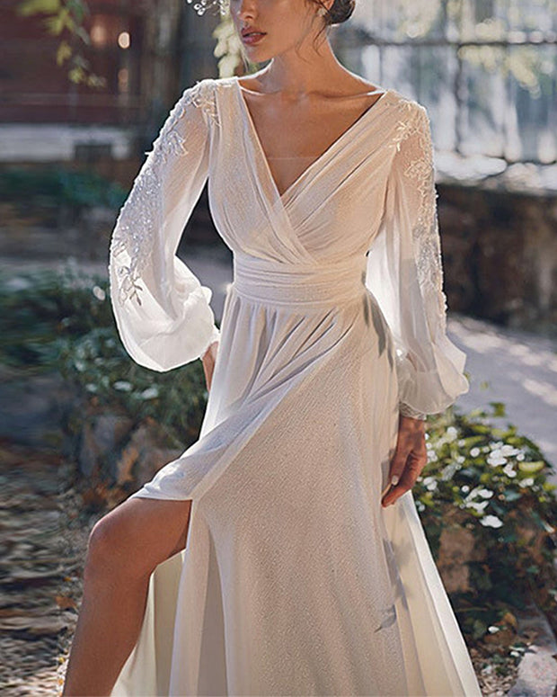 Sexy V-Neck Solid Color Long Sleeve Simple Evening Dress
