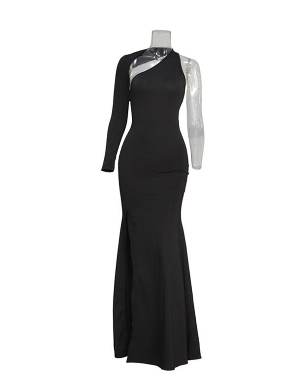 Backless Irregular Split Evening Dress