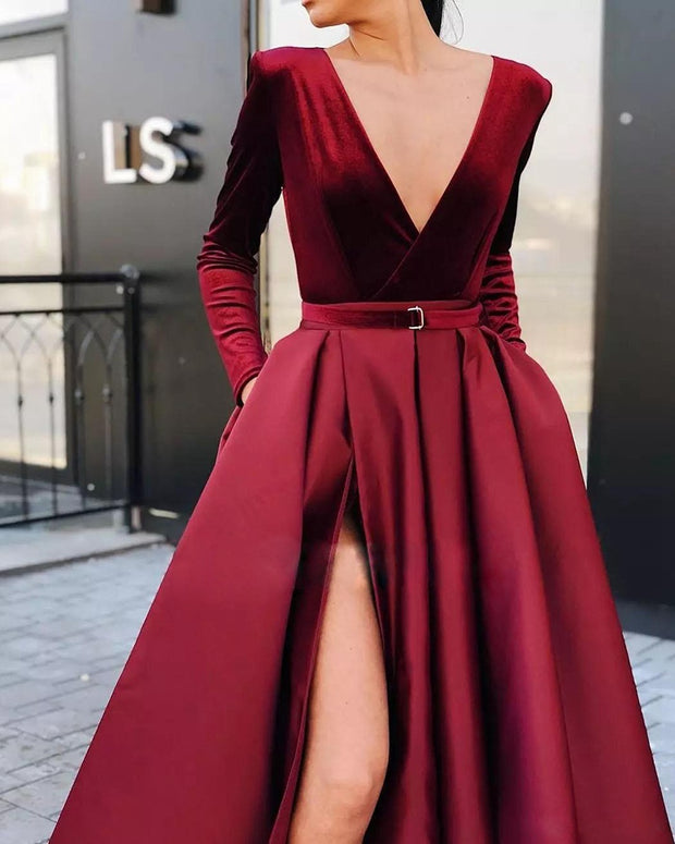 Sexy Deep V Long Sleeve Slit Evening Dress
