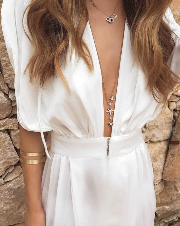 Sleeveless Deep V Loose Solid Color Jumpsuit