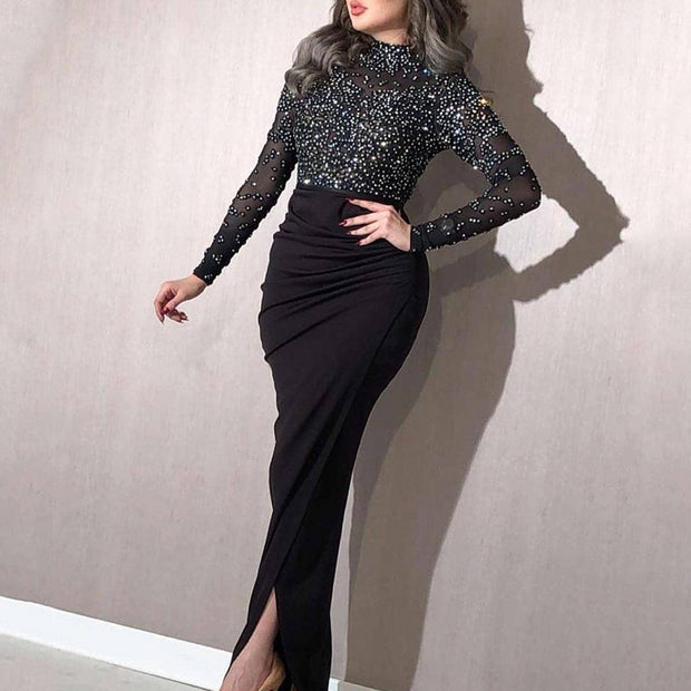 Long Sleeve Sequin Wrap Evening Dress