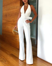 Sexy Deep V Sleeveless Jumpsuit With Belt