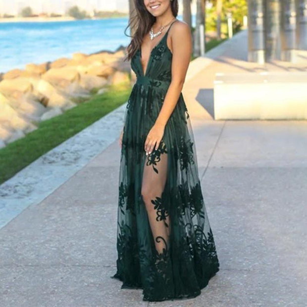 Sexy Sling Deep V Mesh Embroidered Dress