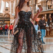 Fashion Sexy Off-the-shoulder Color Sequined Evening Dress