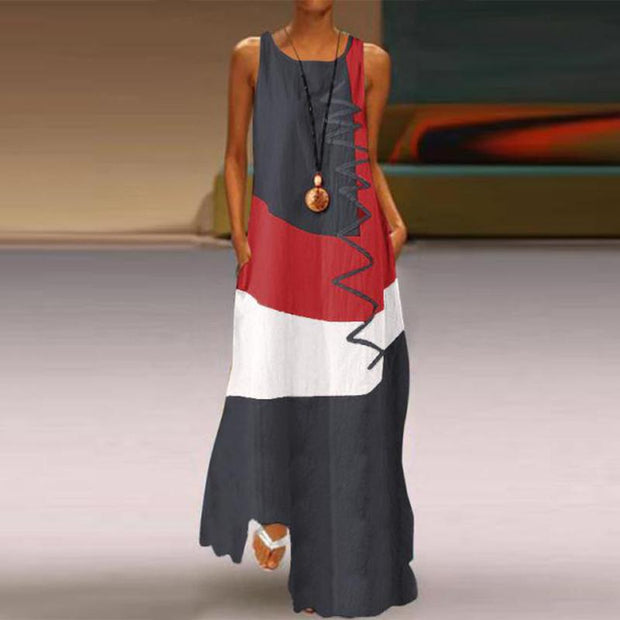 Retro Contrast Printing Sleeveless Cotton And Linen Maxi Dress