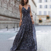 Fashion V-Neck Leopard Print Dress
