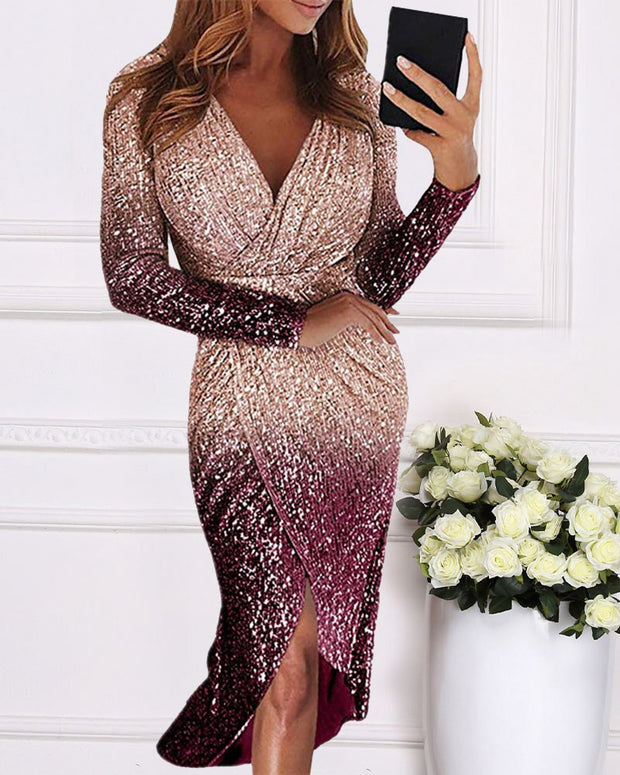 Long Sleeve Gradient Sequined Evening Dress