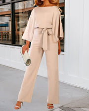 Pure Color Long-sleeved Casual Jumpsuit