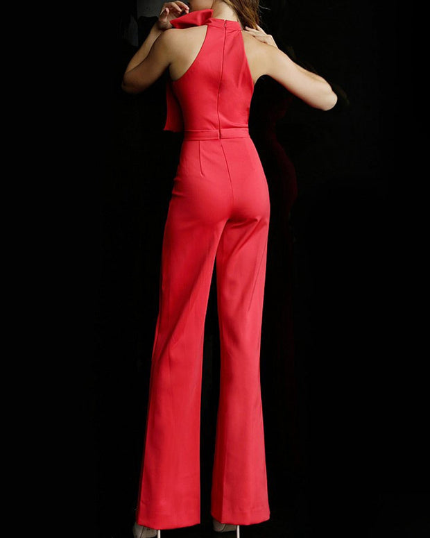 Solid Color Sleeveless Bow Jumpsuit